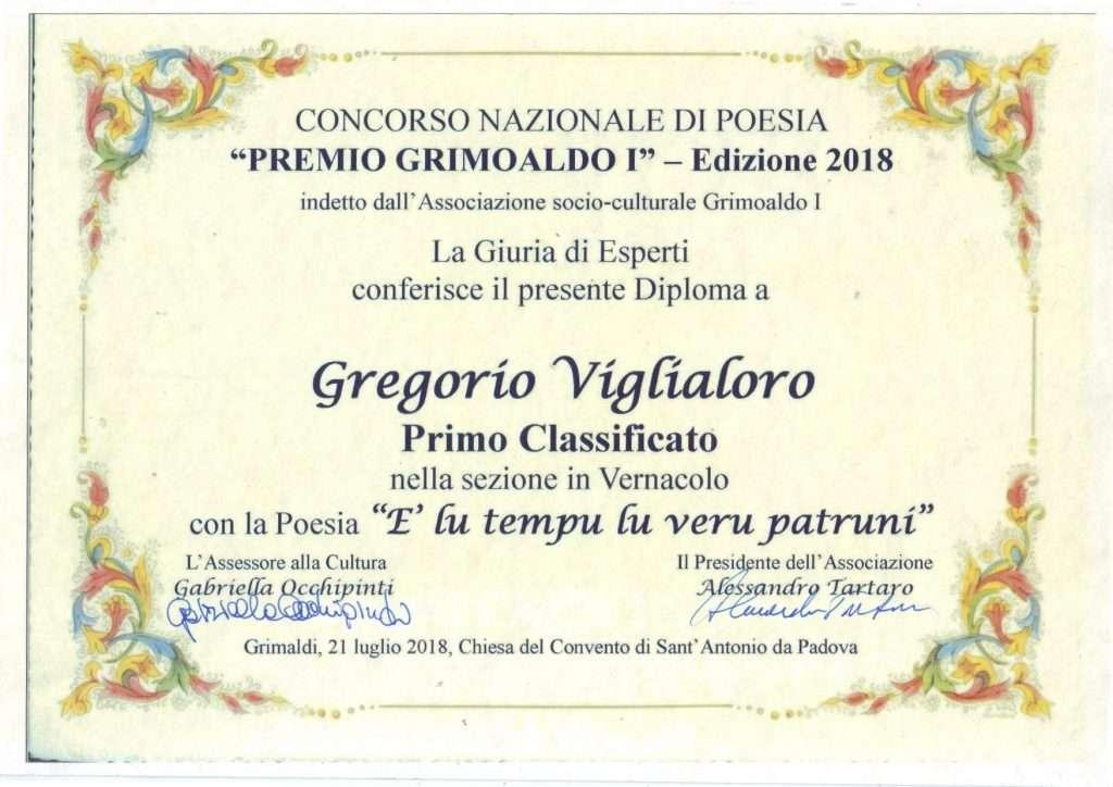 Viglialoro riceve il premio Grimoaldo I per la lirica E' LU TEMPU LU VERU PATRUNI
