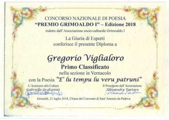 Diploma premio Grimoaldo I a Viglialoro