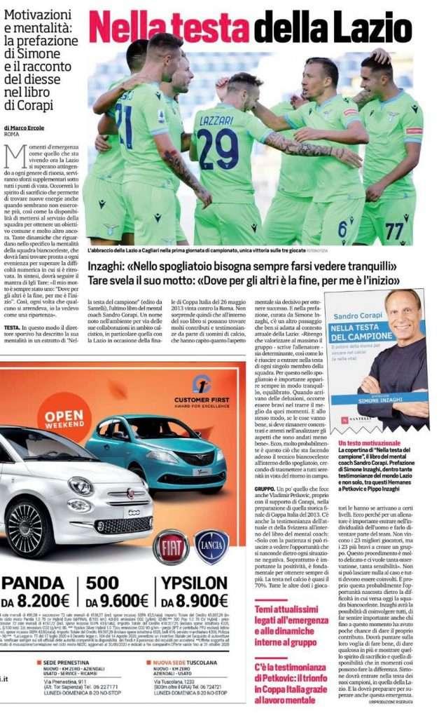 """""""Nella Testa del Campione"""", il libro del Mental Coach Sandro Corapi sbarca sul Corriere dello Sport"""